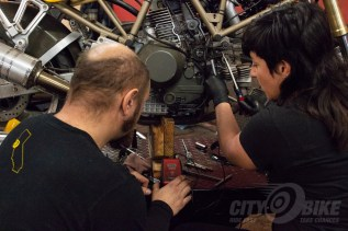 Checking the SS/CR's belt tension with Moto Guild's sonic tester.