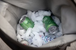Loaded up with ice and cans.