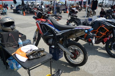 Full race CRF250L Rally in the pits at the Moto Bay Classic
