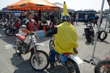 Abby Baldini talks to a banana in the pits.