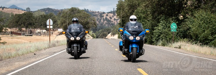 The Honorable Nick Haris (left) and Fish on our 2017 Honda Gold Wing (right). Don't take this as some kind of recommendation for lane position, because it's not.