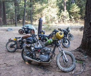 Dirtbagger campsite, 2017. Yes, that's a big dick on that bike.