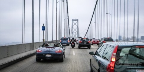 Lane Splitting on the Bay Bridge. Photo: Surj Gish.