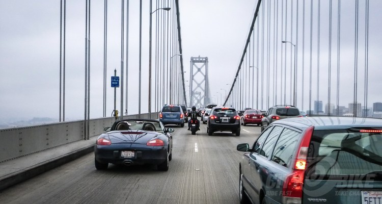 Lane Splitting on the Bay Bridge. Photo: Surj Gish.