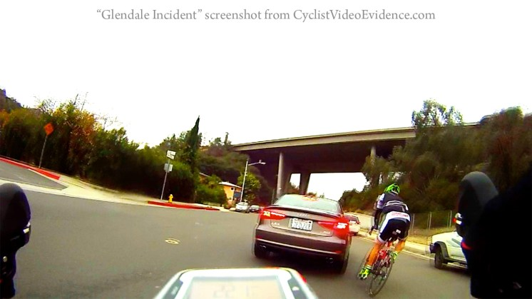 The Glendale District Attorney charged Dennis Reed with two counts of misdemeanor assault thanks to video evidence. Screenshot from CyclistVideoEvidence.com.