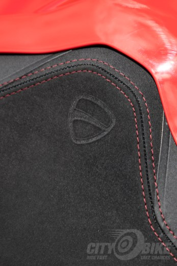 Ducati SuperSport passenger seat with Ducati logo.