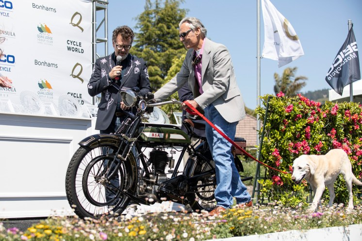 Budd Schwab's 1918 BSA Model H at the 2019 Quail Motorcycle Gathering. Photo: Angelica Rubalcaba.