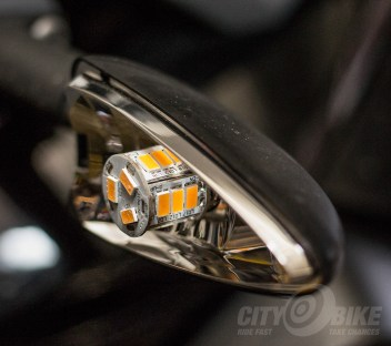 Inertia LED CAN bus-compatible turn signal bulb replacements. Photo: Surj Gish.