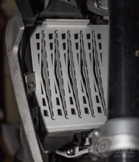 AltRider radiator guards mounted on our R1200GS project bike. Photo: Surj Gish.