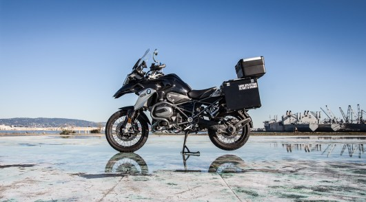 Our 2016 R1200GS Triple Black Beauty project bike with Bumot Defender panniers and AltRider crash bars installed. We're still using the Vario topcase so far. Photo: Surj Gish.