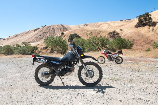 """Our XT225 and CRF250L project bikes in """"testing"""" at Carnegie SVRA. Photo: Angelica Rubalcaba."""