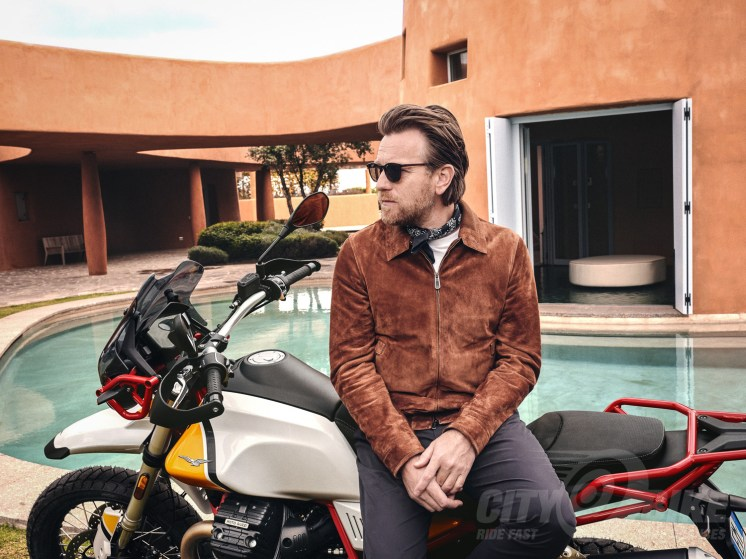 Ewan McGregor on Moto Guzzi's new V85TT.