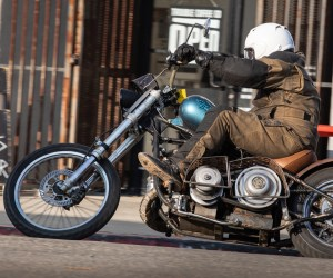 Project SnoMoChop in Oakland - snowmobile-powered hardtail chopper. Photo: Angelica Rubalcaba.