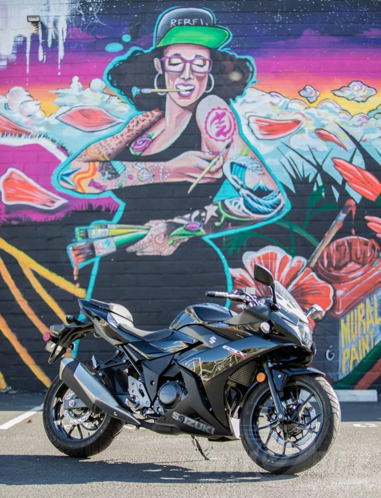 Our 2018 Suzuki GSX250R test bike outside FLAX Art in Oakland. Photo: Angelica Rubalcaba.