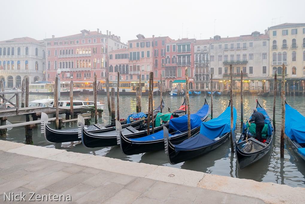 Venetian Gondolas moored