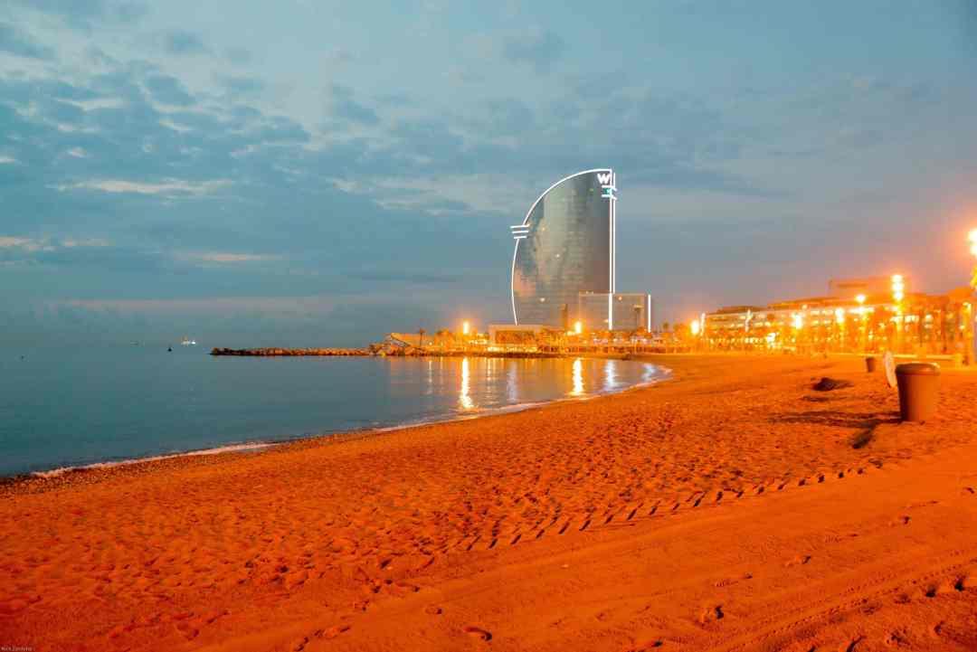 Barcelona beach early morning
