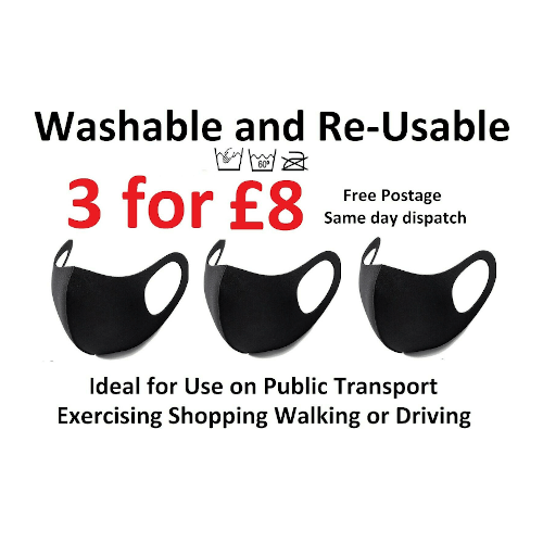 Pack of 3 for 8 Face Mask Covering Washable Re-usable Anti