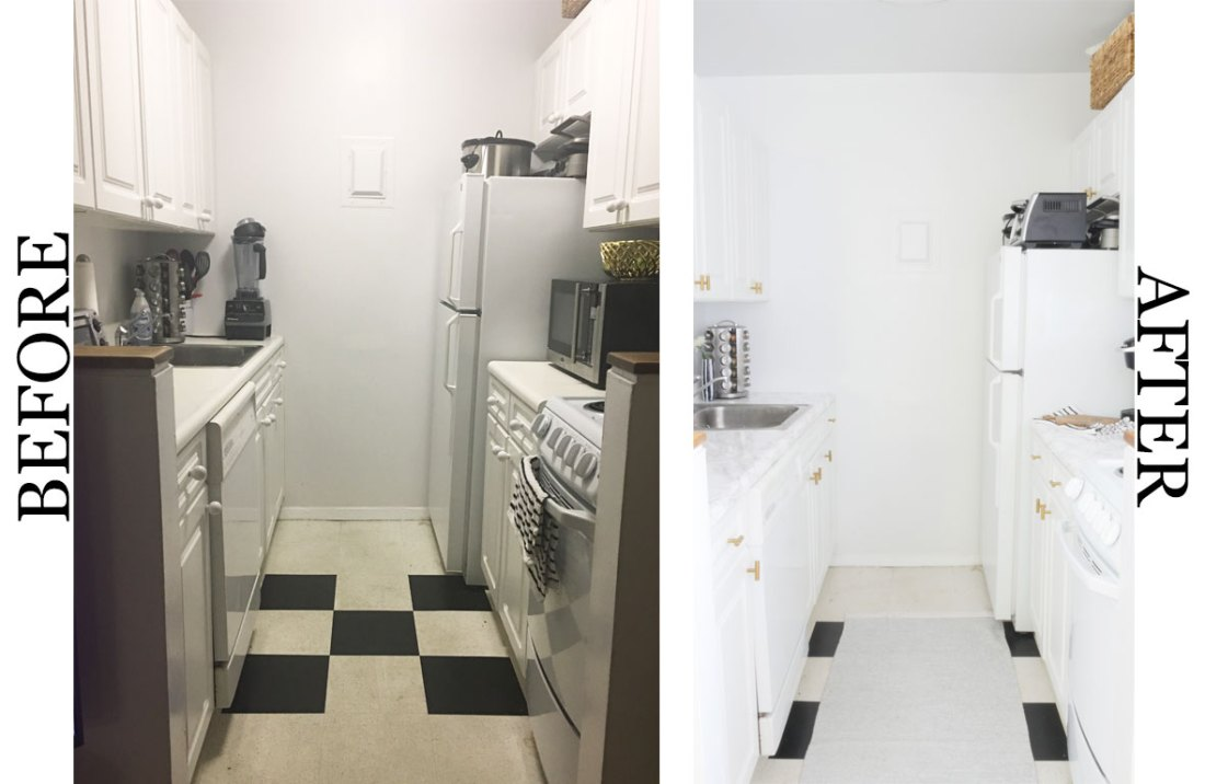 Have a bland rental kitchen? Use these temporary solutions to create a kitchen that's drool-worthy. #kitchenideas #smallkitchenideas #kitchenideasonabudget #rentalhomedecorating #rentaldecorating #rentalapartmentdecorating #rentalkitchenmakeover #rentalhomedecoratingdiy