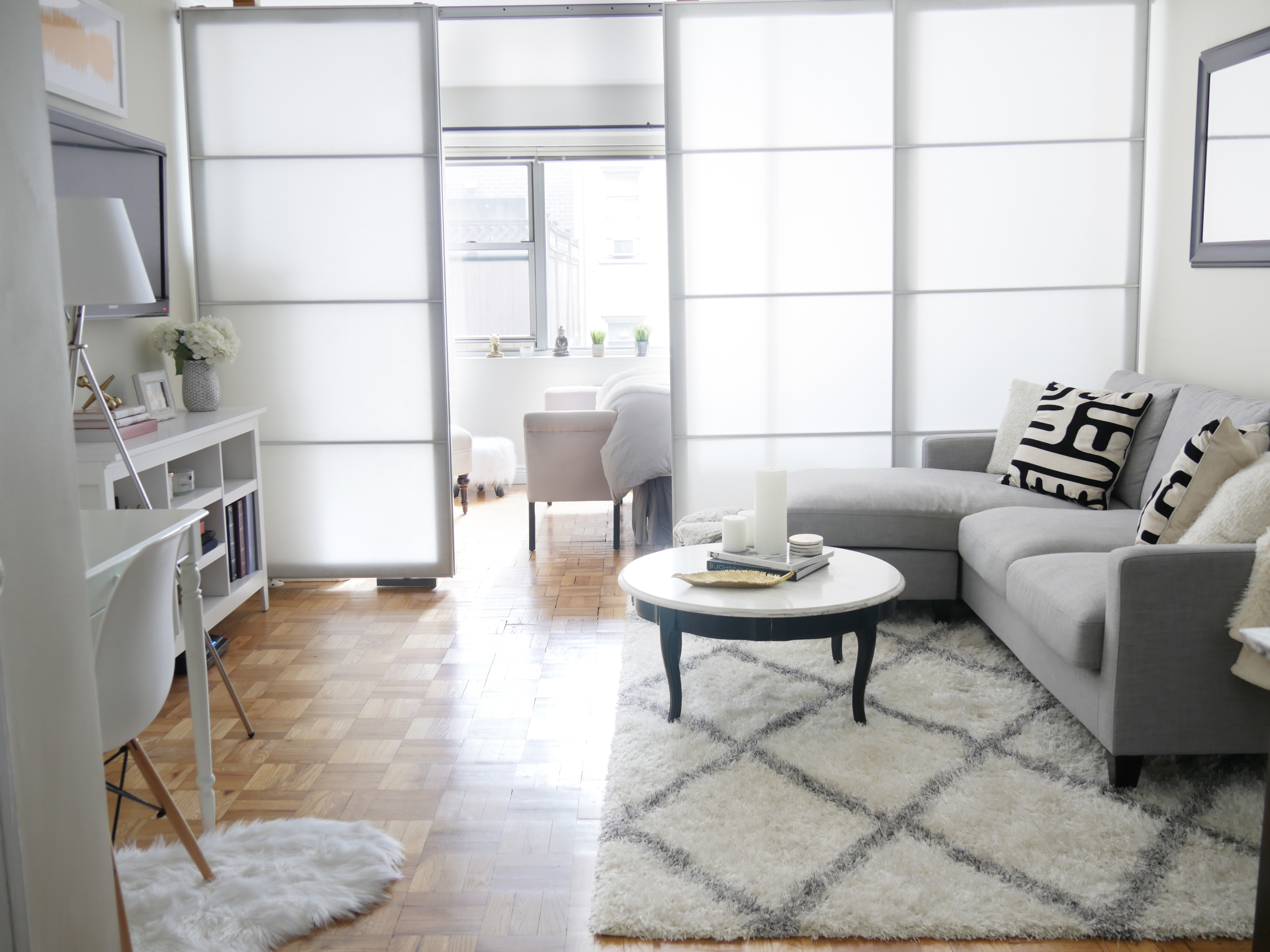 design living room apartment new york club before after chic meets glam inside a nyc studio city as stunning this is it didn t necessarily start out way took few months to create the dream space jackie was hoping for