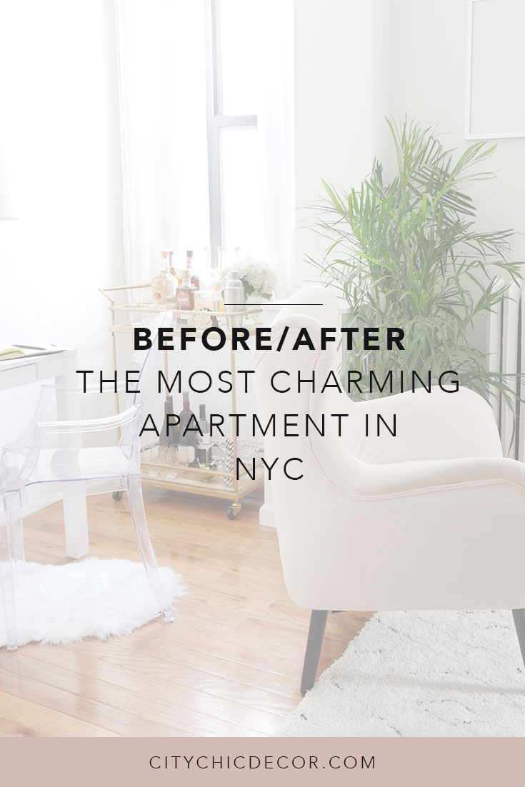 This NYC apartment is the definition of chic-meets-glam. It was a breeze & budget-friendly decorating this small, rental apartment! Learn rental home decorating and rental apartment decorating through Sara's transformation. It also includes small living room ideas and wall decor ideas that will make your space stand out from the rest #rentalhomedecorating #rentaldecorating #rentalapartmentdecorating #smalllivingroomideas #smallapartmentdecorating #smallapartmentideas #walldecor #rentalhomedecoratingdiy