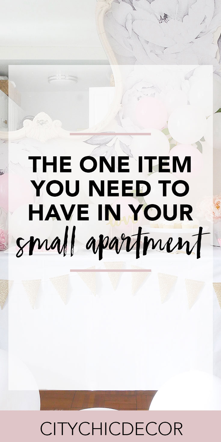 Live in a small apartment? Feel like you don't have enough surface area to host? Think again! This hack will allow you to host like a BOSS. #hostingaparty #partyideas #smalllivingroomideas #smallapartmentdecorating #smallapartmentideas #hostinghacks