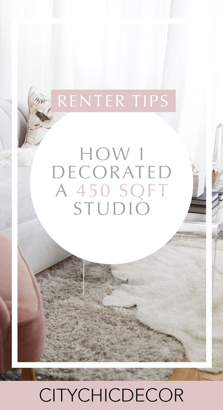 Live in a small apartment and not sure how to decorate it? Or on a tight budget and feel like you don't have the money to spend on new furniture? Well, you can finally erase those fears! Learn how to decorate turn a small space into a chic home WHILE staying on a budget! #studioapartmentideas #tinystudioapartmentideas #studioapartmentdecorating #decoratingonabudget #smallapartmentideas