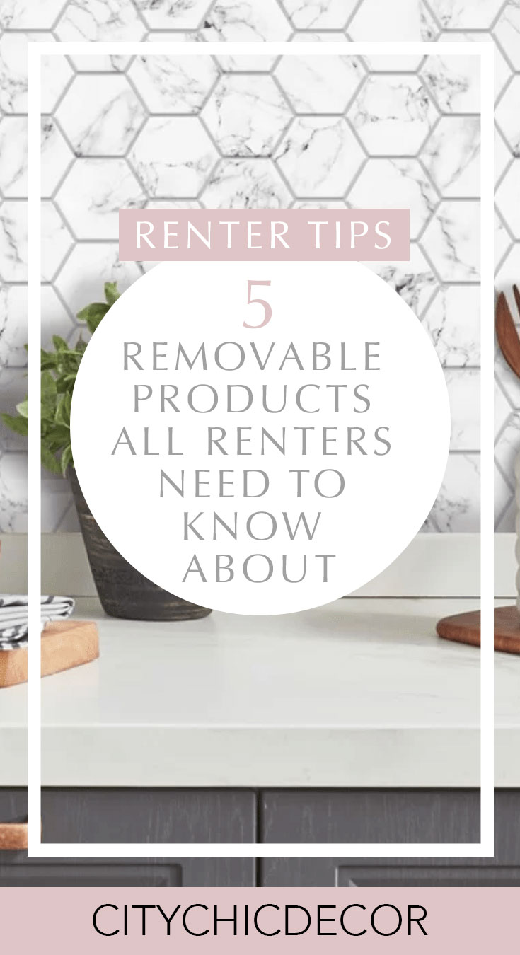 If you live in a rental apartment and struggle decorating it, you need to know about these removable products. From wallpaper, to flooring and backsplashes, these items will blog you away! #rentalhomedecorating #rentaldecorating #rentalapartmentdecorating #removablewallpaper #removablebacksplash #removableflooring