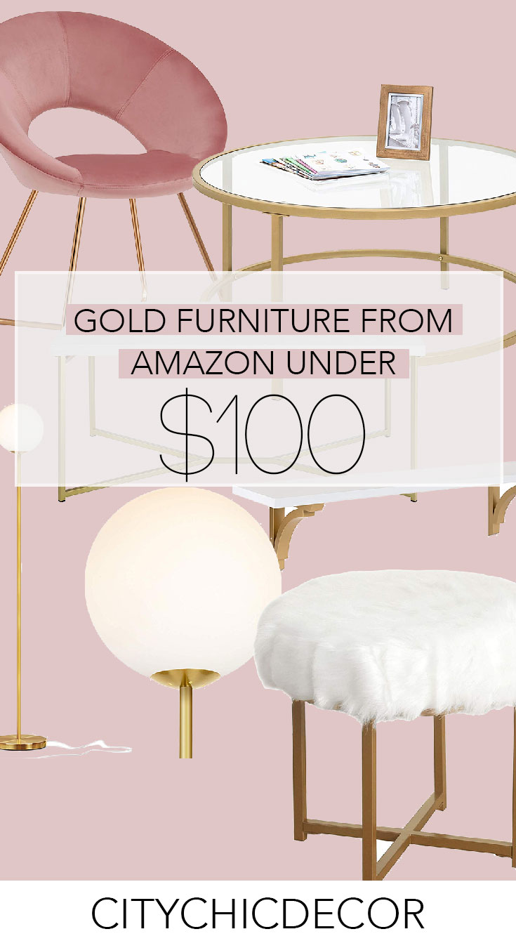 These glam, gold affordable furniture items from Amazon will blow you & your house guests away. From glam decor to stunning velvet chairs, you'll be shocked with how budget-friendly these things are! #furnituredesign #furnitureideas #affordablefurniture #affordablefurnitureideas #amazon #thingstobuyonamazon