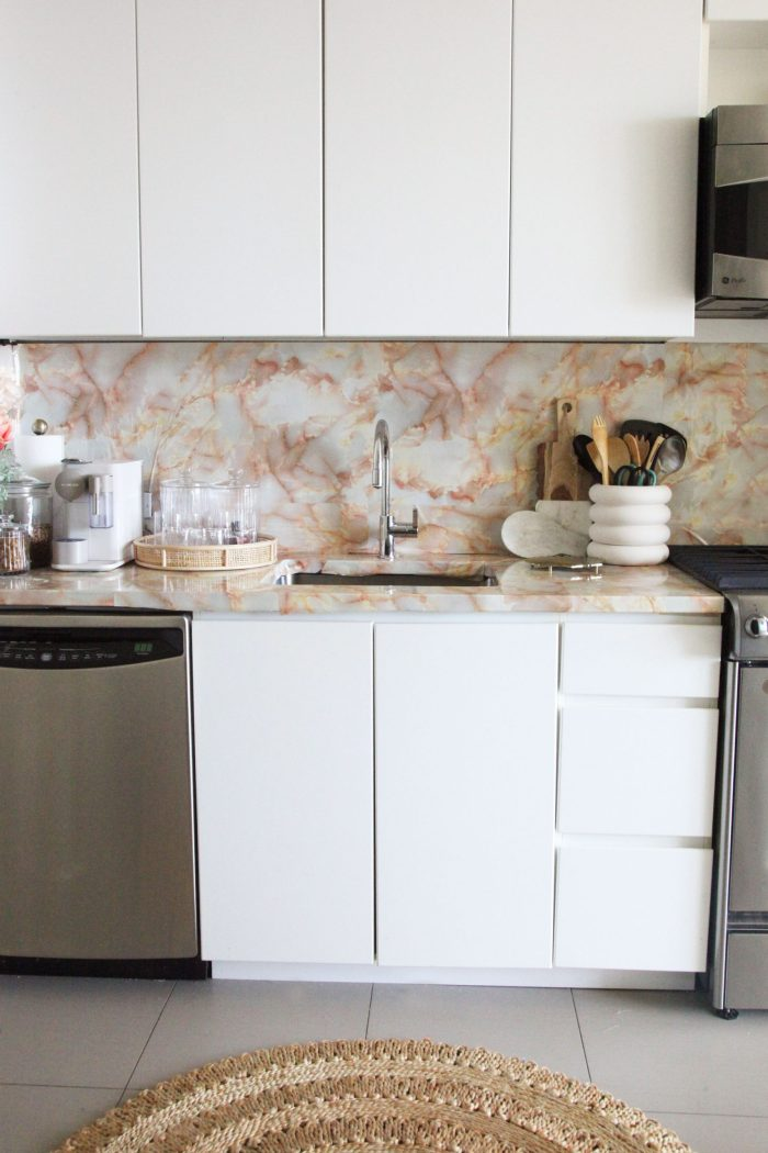Blush Rental Kitchen Makeover for $30