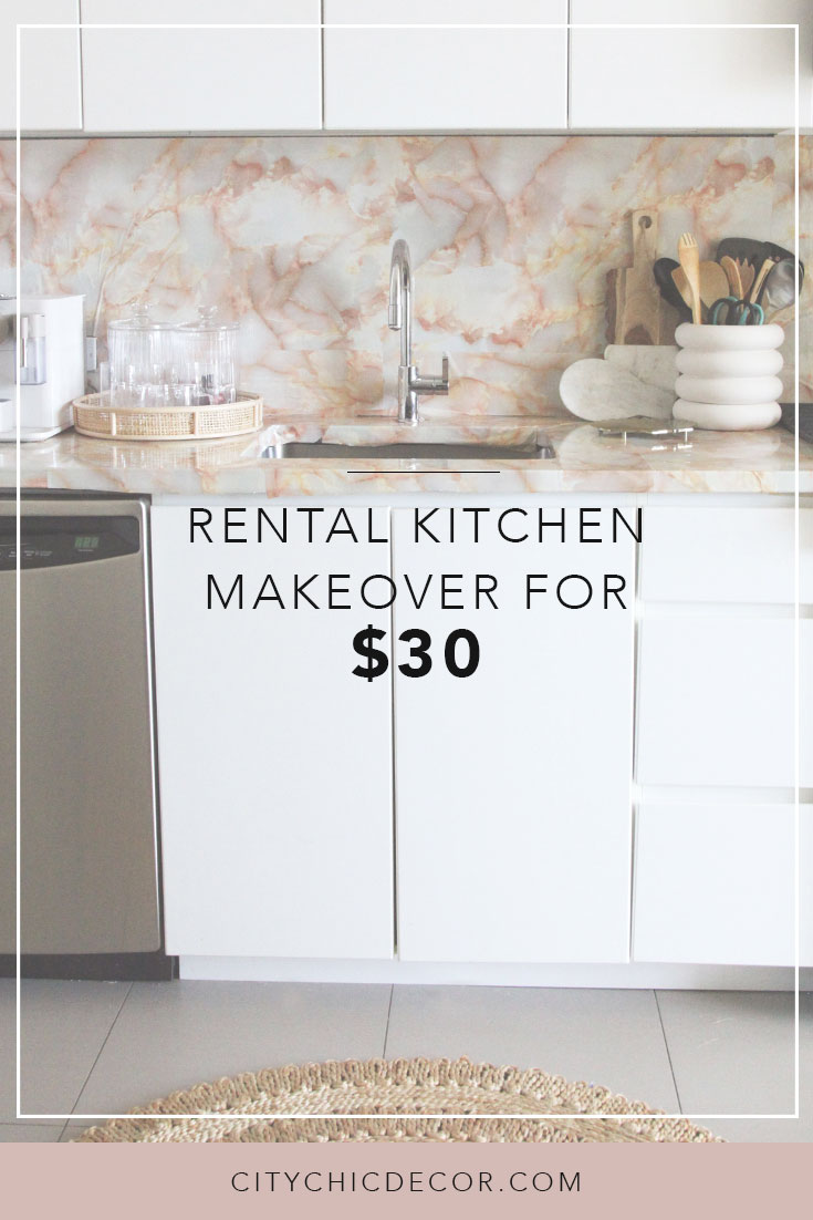 Have a bland rental kitchen? Want to create your dream blush marble kitchen? Use these temporary solutions and kitchen ideas to create a kitchen that's drool-worthy … on a budget! #kitchenideas  #smallkitchenideas #kitchenideasonabudget  #rentalhomedecorating #rentaldecorating #rentalapartmentdecorating #rentalkitchenmakeover  #rentalhomedecoratingdiy