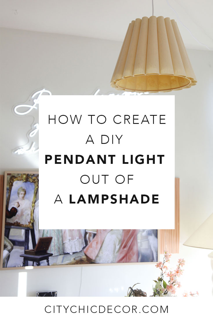 Want to turn your lampshade into a pendant light or chandelier? Look no further! Here is an easy tutorial on how to turn your lampshade into a DIY pendant light lamp within 30 minutes. #diypendantlight #diychandelier  #diychandelierideas