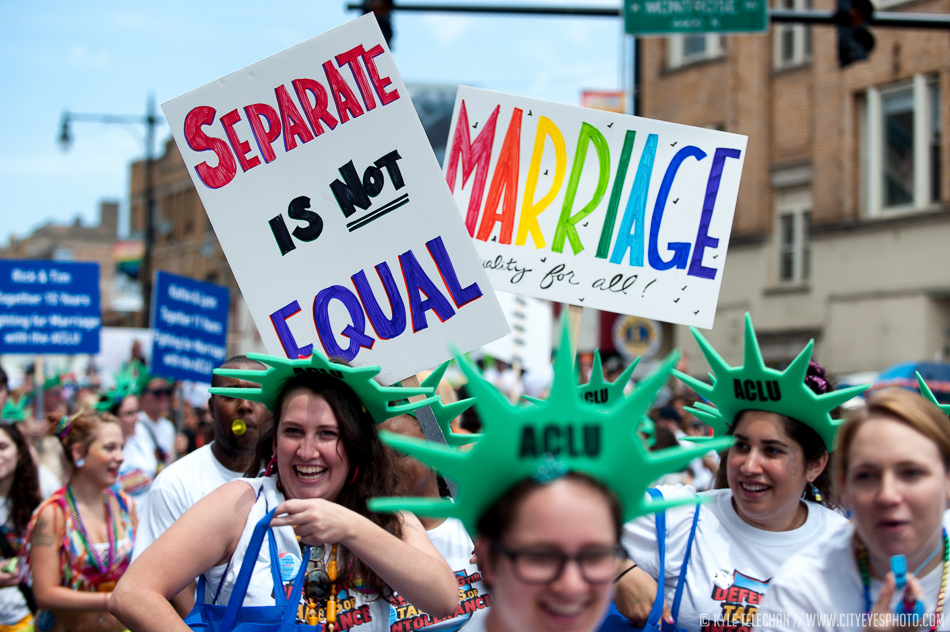 2012 was an exciting year for equality - President Obama had declared his support for same-sex marriage only a month before the 2012 pride parade in Chicago, and later in the year, it was legalized by vote in Washington, Maine, and Maryland.