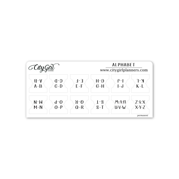 Small Alphabet planner tabs