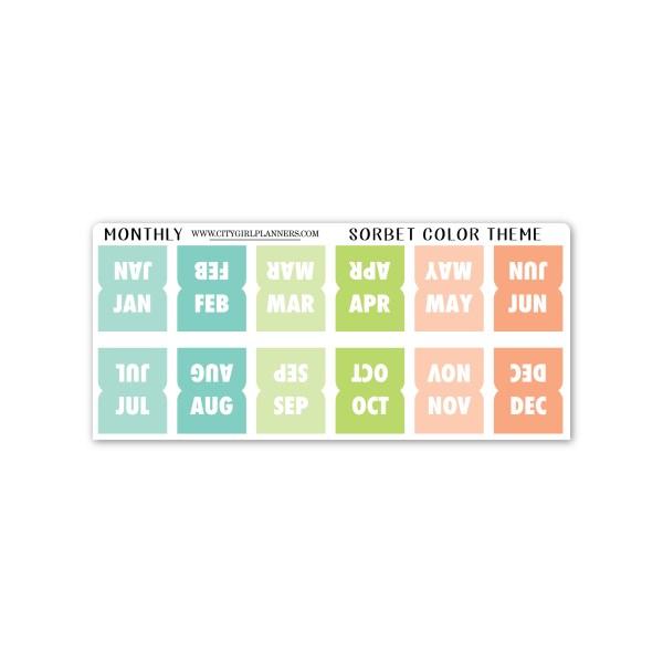 Mini Monthly planner tabs sorbet