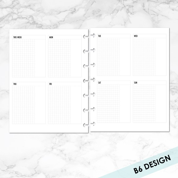 B6 Week on 2 pages vertical with grid