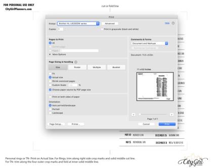 Personal 2020 Holidays freebie PDF Print example