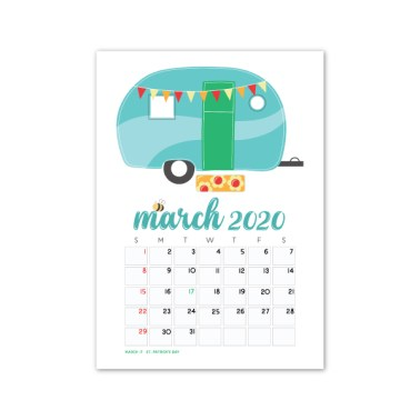 March 2020 calendar card freebie
