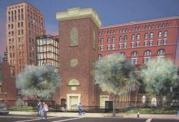 Previous rendering of Church of St. Francis in the Fields' proposed residential tower and campus addition. Image credit: ABA Studio.