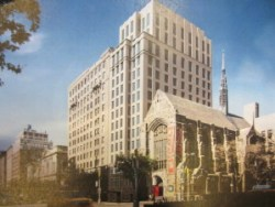 Rendering of new tower adjacent to Park Avenue Christian Church. Image credit: CityLand