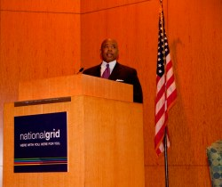 Brooklyn Borough President Eric Adams delivers the keynote address at the Brooklyn Affordable Housing Forum.  Image credit: New York Housing Conference