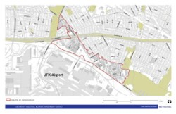 The boundary lines of the proposed Greater JFK IBID. Image credit: Urbanomics/BFJ Planning