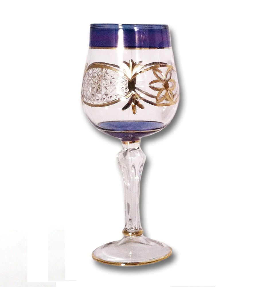 Egyptian Museum Glass Dg301 Blu Blue Wine Glass With Gold
