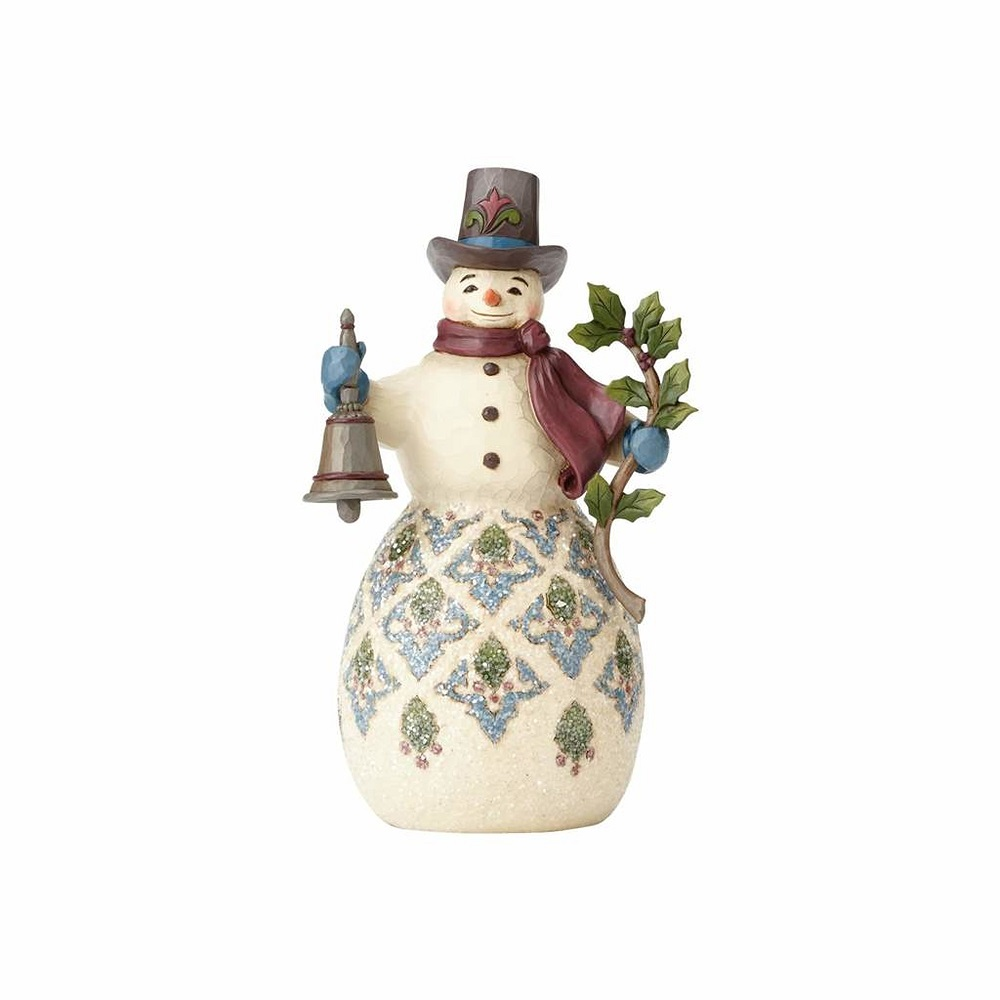 JIM SHORE HEARTWOOD CREEK 4058753 Bright And Merry Victorian Snowman With Bell