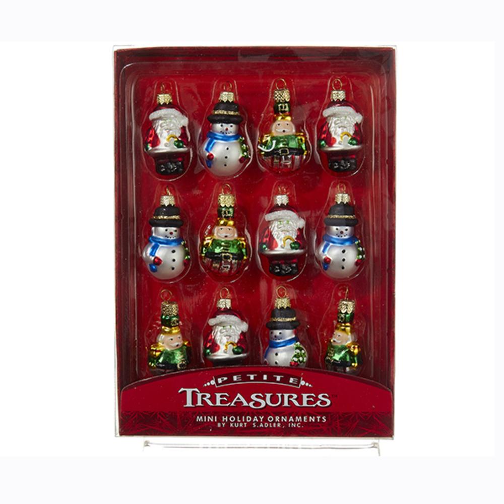 Kurt Adler C1967 S 12 Mini Glass Ornament Set Of 12