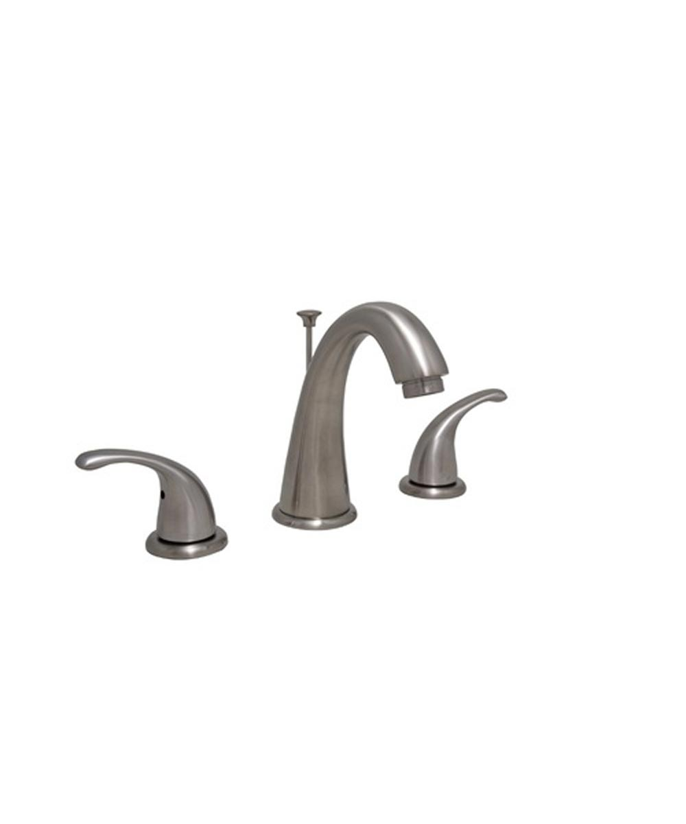 proflo 1 2 gpm 3 hole widespread bathroom faucet with brass pop up drain assembly brushed nickel