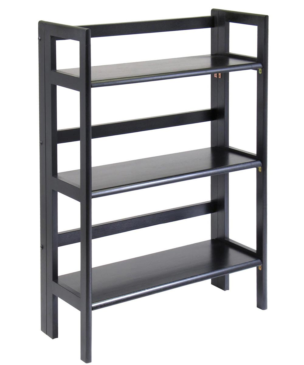 3 Tier Black Stackable Folding Book Shelf