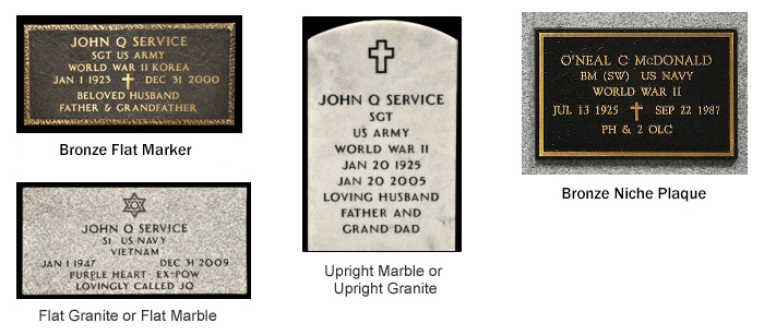 Veteran's Grave Markers Issued By The U S Government