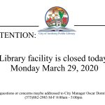 Library Closure: March 29 2021