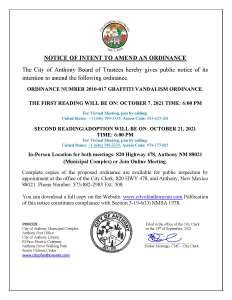 Notice Of Intent to Amend an Ordinance, an Ordinance Number 2010 -017 Graffiti Vandalism Ordinance. @ City Municipal Complex