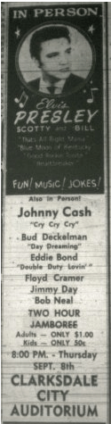 Clarksdale Press Register ad for Elvis September 8, 1955 performance.